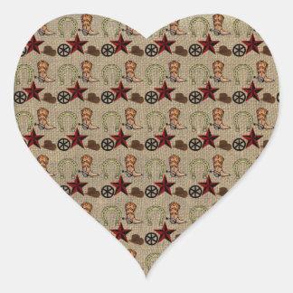 Wild West Cowboy Country Western on Burlap Pattern Heart Sticker