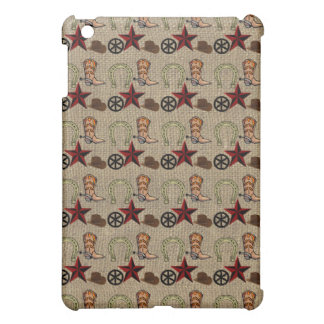 Wild West Cowboy Country Western on Burlap Pattern iPad Mini Cover