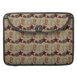 Wild West Cowboy Country Western on Burlap Pattern Sleeve For MacBooks