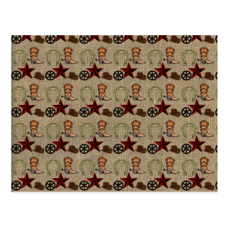Wild West Cowboy Country Western on Burlap Pattern Post Card