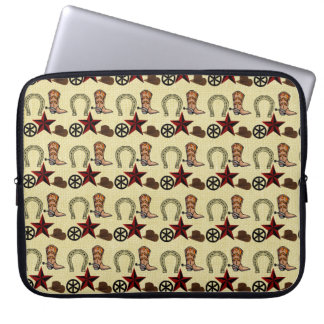 Wild West Cowboy Country Western on Burlap Print Laptop Computer Sleeve