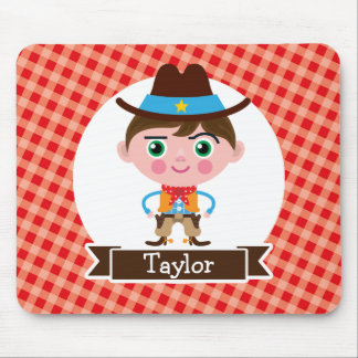 Wild West Cowboy Sheriff, Red Gingham Kid's Mouse Pads