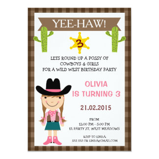 Wild West Cowgirl Birthday Party Invitation
