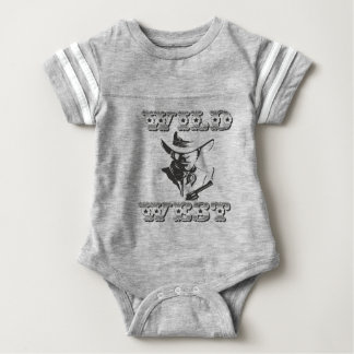 Wild west history and legends of cowboys, western baby bodysuit