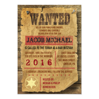 "WILD WEST WANTED Bar Bat Mitzvah Invitation 5"" X 7"" Invitation Card"