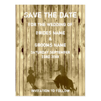 Wild west western ranch theme save the date postcard