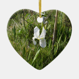 Wild White Canna Lily Ceramic Heart Decoration