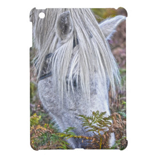 Wild White New Forest Pony Grazing on Bracken Cover For The iPad Mini