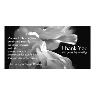 Wild White Roses 1 Sympathy Thank You Custom Photo Card