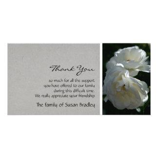 Wild White Roses 1 - Sympathy Thank You Customized Photo Card