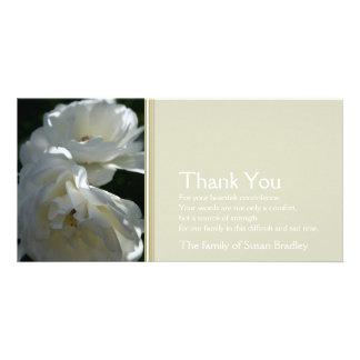Wild White Roses 2 - Sympathy Thank You Photo Card