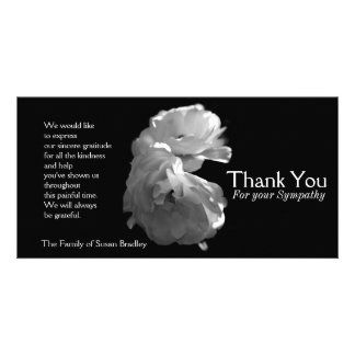 Wild White Roses 3 Sympathy Thank You Photo Greeting Card