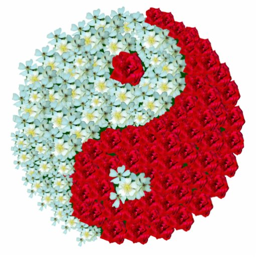 Wild White Roses and Red Roses Yin Yang symbol Photo Cutouts