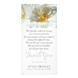 Wild White Roses Sympathy Thank you Photo card