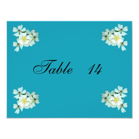 Wild White Roses table number card