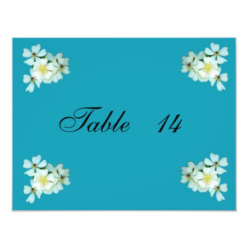 Wild White Roses table number card 11 Cm X 14 Cm Invitation Card