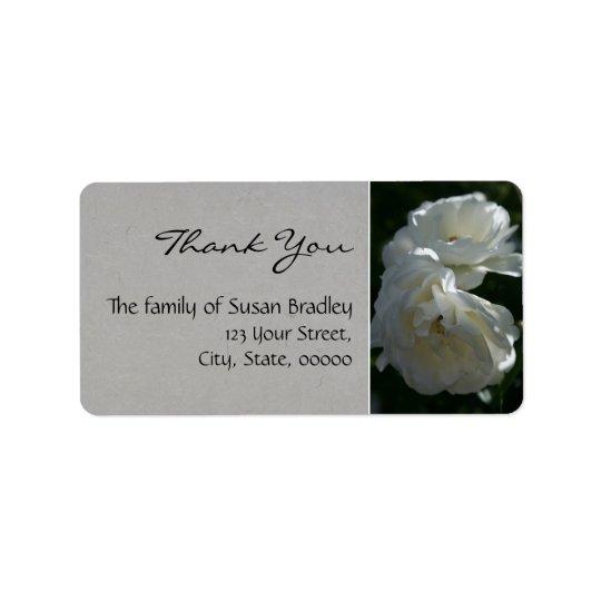 Wild White Roses Thank You Label 1