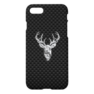 Wild White Tail Deer on Carbon Fiber Style iPhone 7 Case