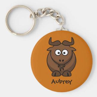 Wild wildebeest basic round button key ring