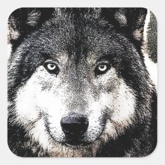 Wild Wolf Artwork Square Sticker