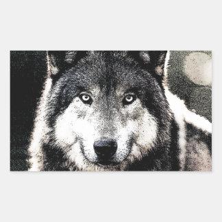 Wild Wolf Eyes Artwork Unique Rectangle Sticker