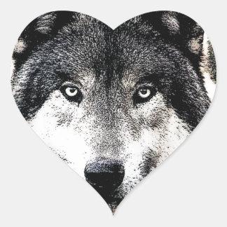 Wild Wolf Eyes Heart Sticker
