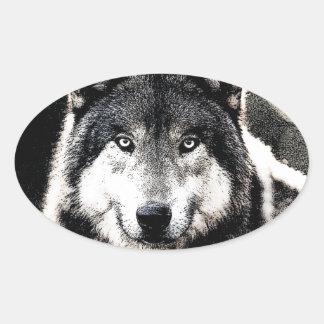 Wild Wolf Eyes Oval Sticker
