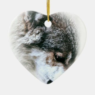 Wild Wolf Face Angry Eating Christmas Ornament