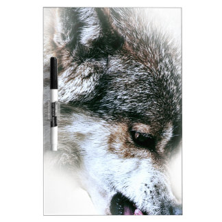 Wild Wolf Face Angry Eating Dry Erase Board