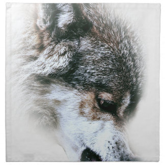 Wild Wolf Face Angry Eating Napkin