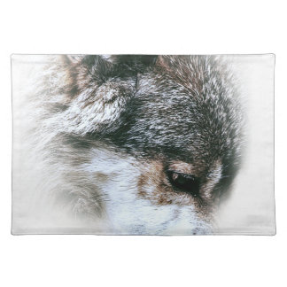 Wild Wolf Face Angry Eating Placemat