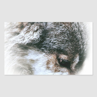 Wild Wolf Face Angry Eating Rectangular Sticker