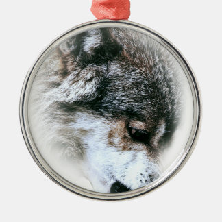 Wild Wolf Face Angry Eating Silver-Colored Round Decoration