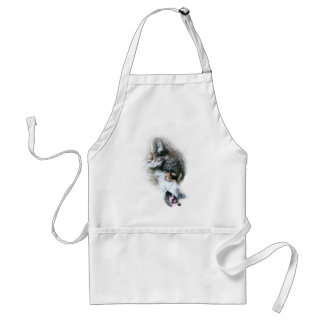 Wild Wolf Face Angry Eating Standard Apron