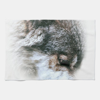 Wild Wolf Face Angry Eating Tea Towel
