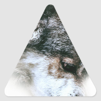 Wild Wolf Face Angry Eating Triangle Sticker
