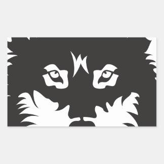 Wild Wolf Face Silhouette Rectangular Sticker
