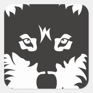 Wild Wolf Face Silhouette Square Sticker