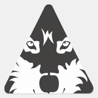 Wild Wolf Face Silhouette Triangle Sticker