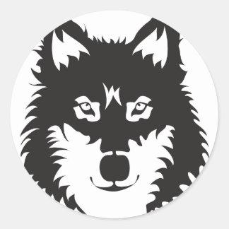 Wild Wolf Face Silhouette Round Sticker