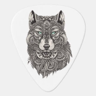 Wild Wolf Head Detailed Illustration Plectrum