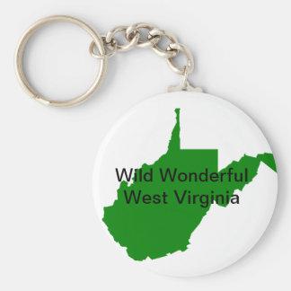 Wild Wonderful West Virginia Basic Round Button Key Ring