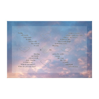 """Wild Words"" on Blue/ Pink Sunset Sky Canvas"