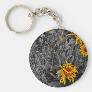wild yellow cornflowers sepia tone , key chains