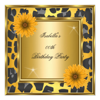 Wild Yellow Orange Gerberas Black Birthday Party 13 Cm X 13 Cm Square Invitation Card