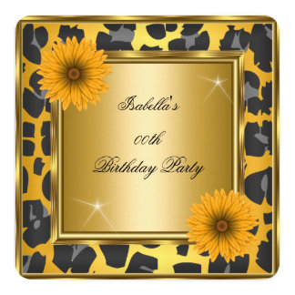 Wild Yellow Orange Gerberas Black Birthday Party 2 13 Cm X 13 Cm Square Invitation Card