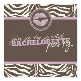 Wild Zebra Fun Bachelorette Party Invitation