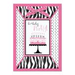 Wild Zebra Print & Birthday Cake Pink 13 Cm X 18 Cm Invitation Card