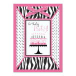 "Wild Zebra Print & Birthday Cake Pink 5"" X 7"" Invitation Card"
