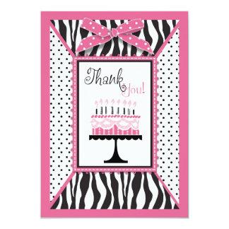 Wild Zebra Print & Birthday Cake Pink Thank You 13 Cm X 18 Cm Invitation Card